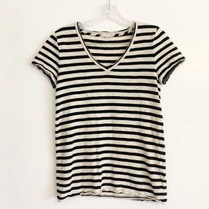 J. Crew Black/Cream Striped T-Shirt
